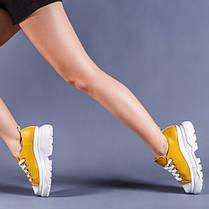 Кожаные кроссовки желтый на платформе  (цвет любой!)  36-41, фото 3