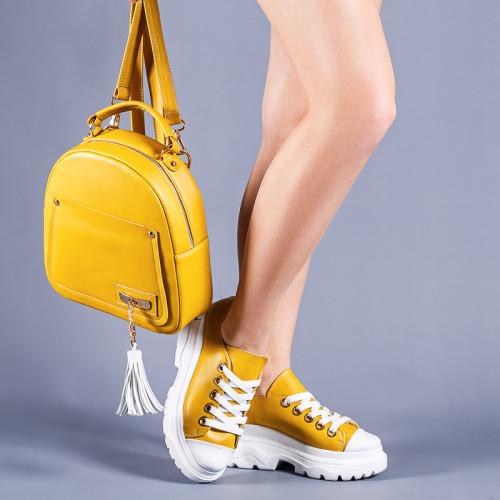 Кожаные кроссовки желтый на платформе  (цвет любой!)  36-41