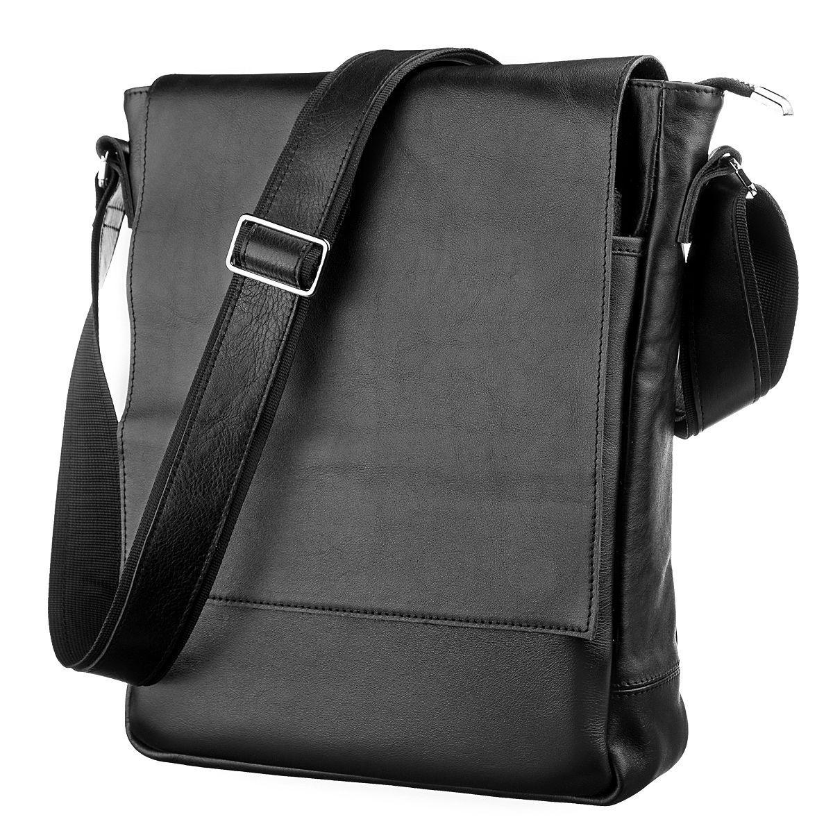 97516b9cdfa5 Мужская черная кожаная сумка через плечо SHVIGEL 11079 - Цена ...