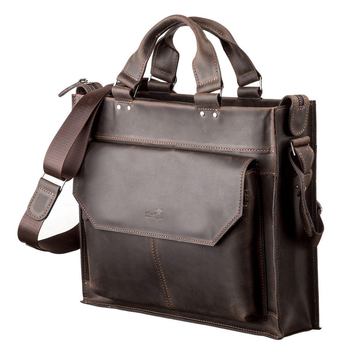 eefa158a6a51 Сумка кожаная мужская коричневая на плечо для ноутбука SHVIGEL 11109 ...