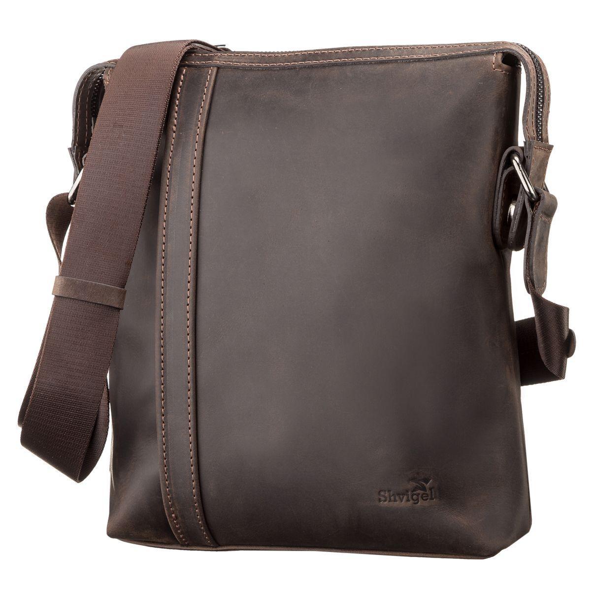 53b60872f633 Коричневая мужская сумка на плечо SHVIGEL 11099 - Цена, купить ...
