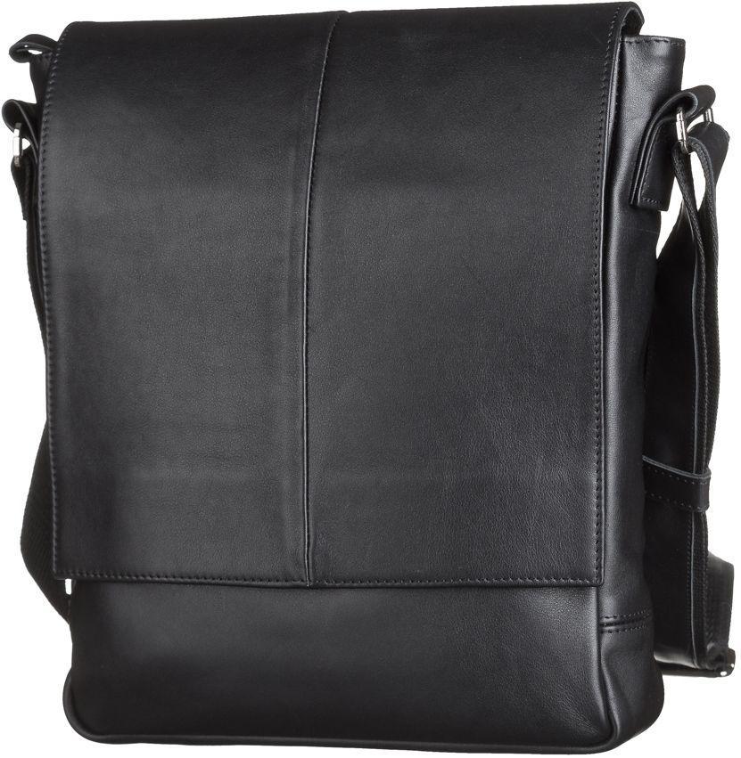 a1417e24f033 Мужская кожаная сумка на плечо черного цвета SHVIGEL 00859 - Цена ...