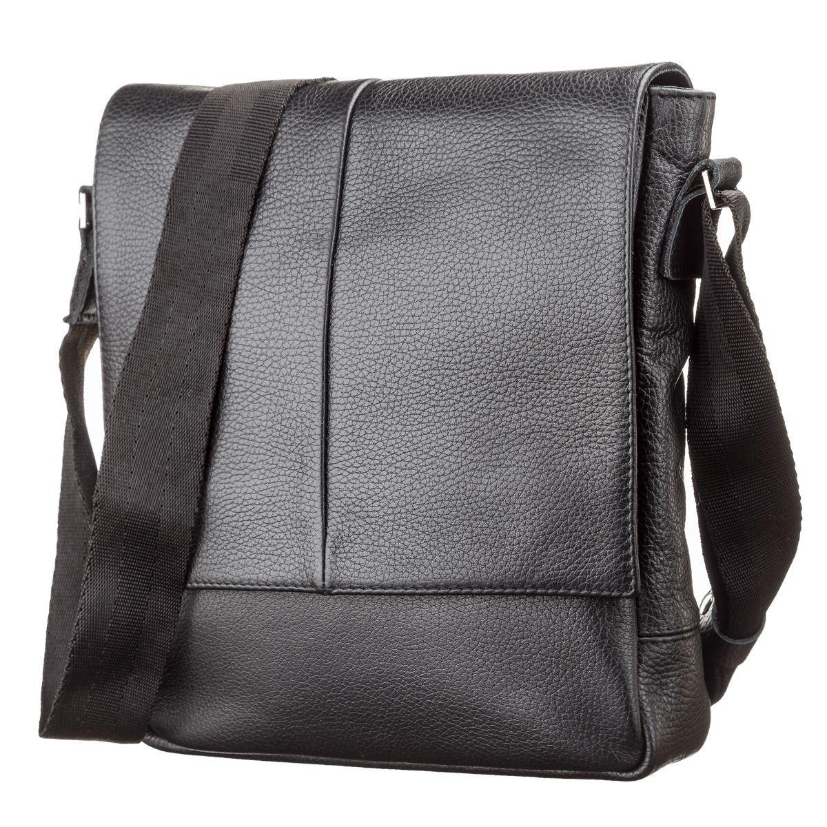 154da0fa8d7a Черная мужская сумка кожаная через плечо SHVIGEL 00861 - Цена ...