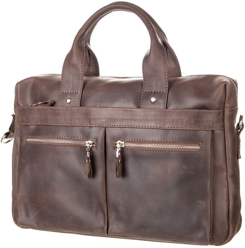 9abefebfb9a1 Мужская сумка портфель из натуральной кожи на плечо для ноутбука SHVIGEL  11020 Коричневая