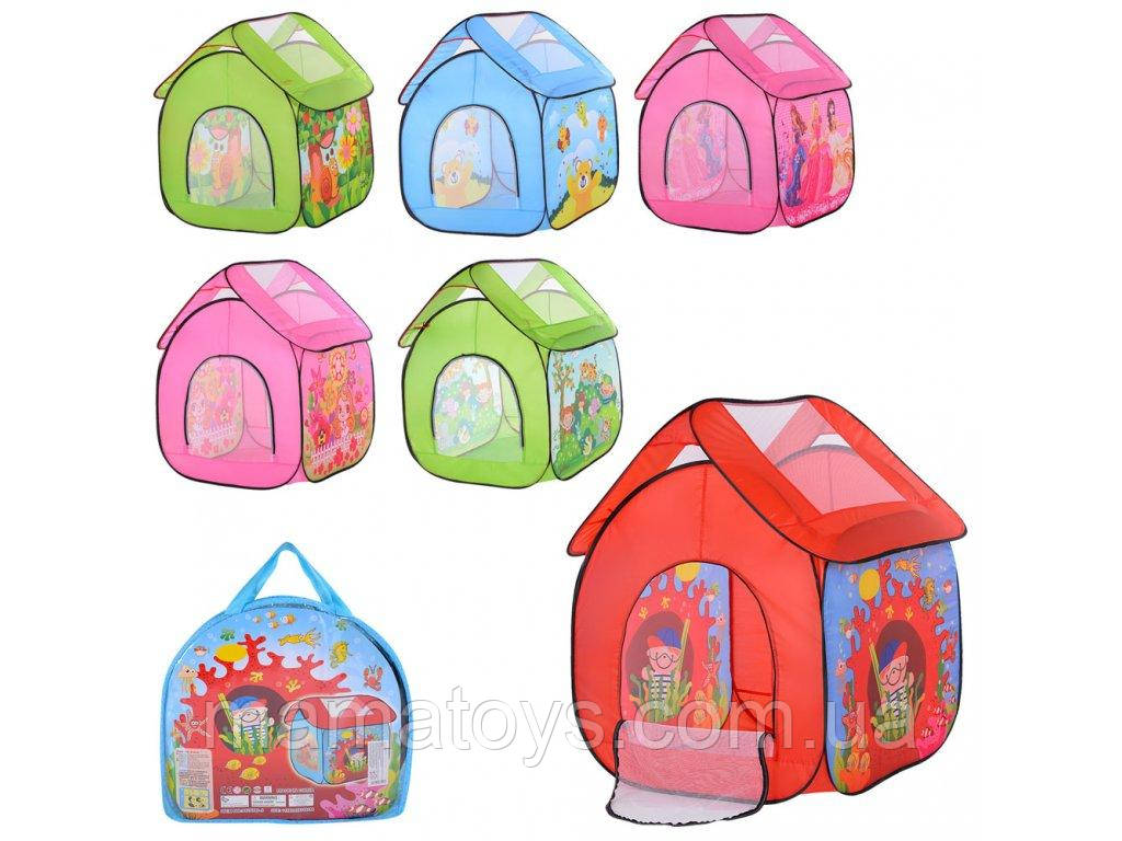 Палатка детская 3756 домик,112-102-146 см, 6 видов