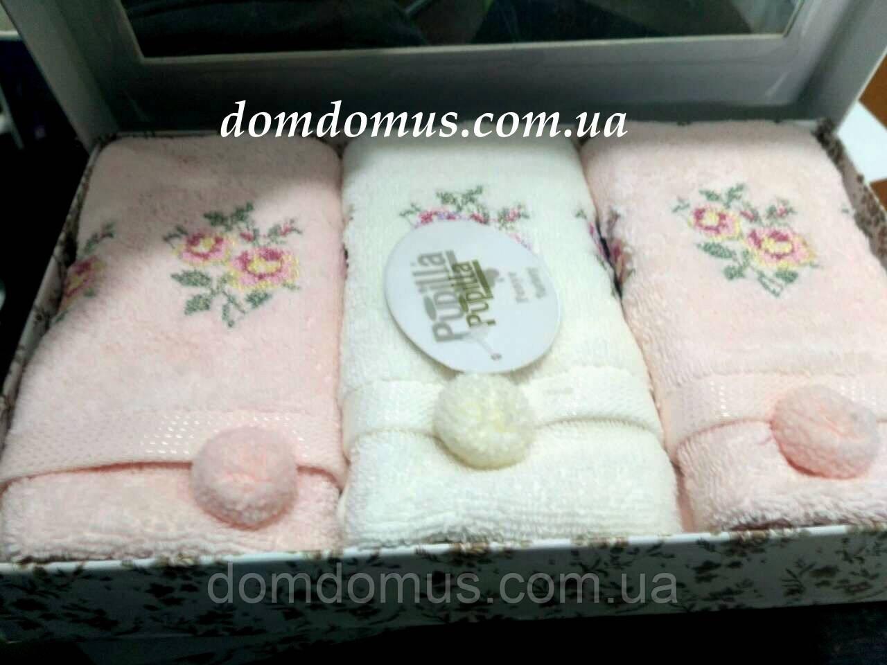 Набор полотенец в подарочной упаковке 3D вышивка, 30*50 см, 3 шт. (100 % бамбук) Puppila, Турция 7031