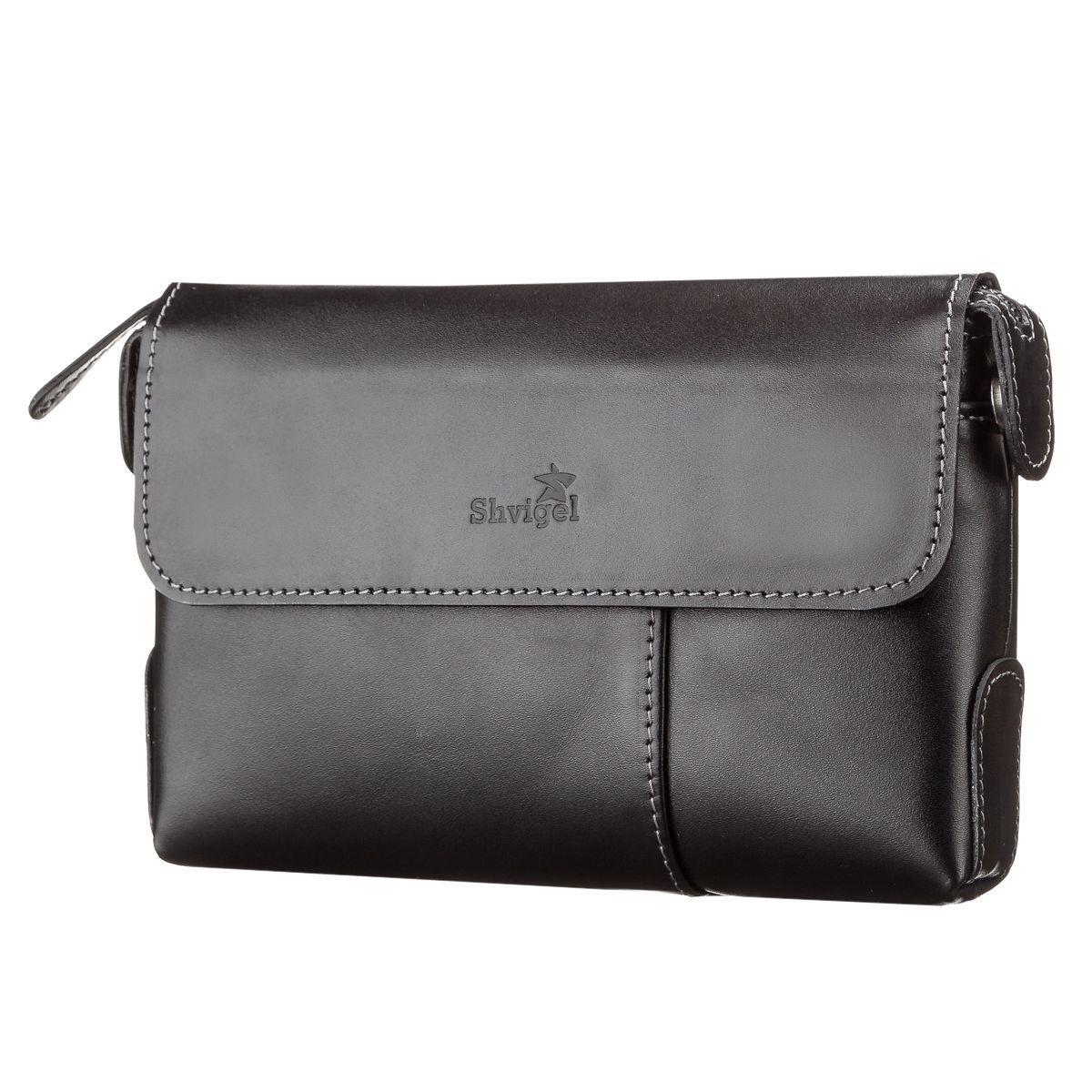 26d8a3ad9787 Мужской клатч SHVIGEL 11084 кожаный Черный, Черный - Цена, купить ...