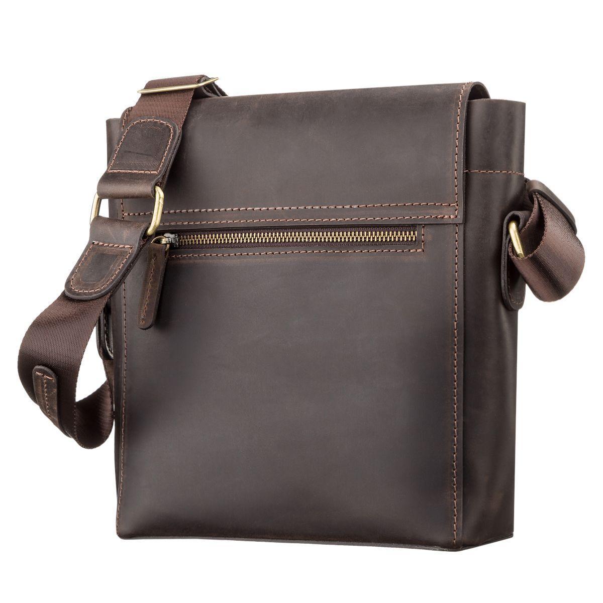 84aae3d89da09 Коричневая повседневная вместительная кожаная сумка на плечо SHVIGEL 11095,  ...