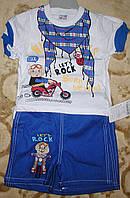 Костюм футболка+шорты коттон для мальчика синий рост 86-98