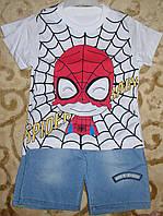 """Костюм футболка+шорты джинс для мальчика """"спайдер"""" рост 86-98"""