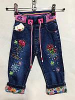 Джинсы детские с розочками для девочки, 1-5 лет, синие, фото 1