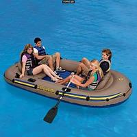 Трехместная надувная лодка Intex 68319 Excursion-3 Set + алюминиевые вёсла и насос