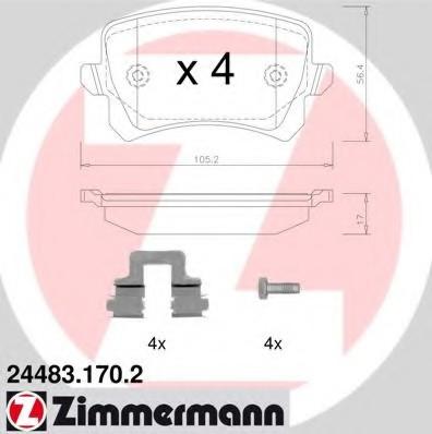 Колодки зад. Audi A4/A6 (05>) VW Caddy 3/B-6/B-7/Golf 5/Touran/Tiguan