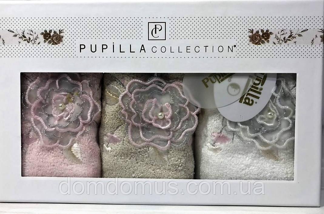 Набор полотенец в подарочной упаковке 3D вышивка и кружево, 30*50 см (100 % бамбук) Puppila, Турция