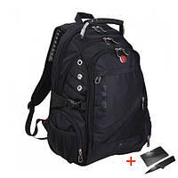 Городской Рюкзак SwissGear 8810 Швейцарский с USB, AUX  + Нож-кредитка и дождевик в Подарок