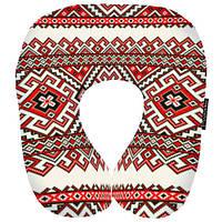 Подушка-рогалик Червоний орнамент Україна