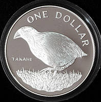 Серебряная монета Новой Зеландии 1 доллар 1982 г. Птица Такахе. Пруф