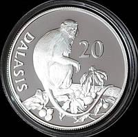 Серебряная монета Гамбии 20 даласи 1987 г. Гамбии Обезьяна Красный колобус. Пруф