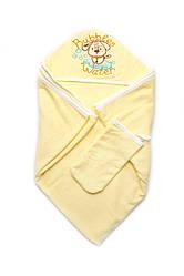 Детское полотенце махровое для купания с рукавичкой, желтое