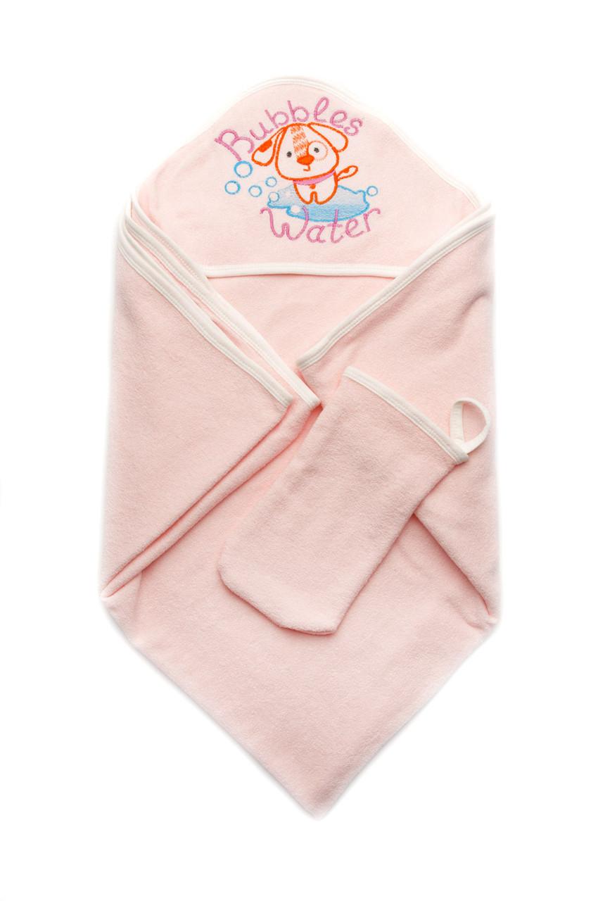 Детское полотенце махровое для купания с рукавичкой, розовое