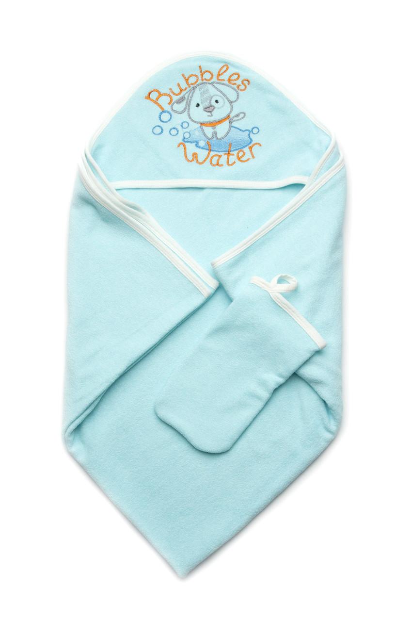 Детское полотенце махровое для купания с рукавичкой, голубое
