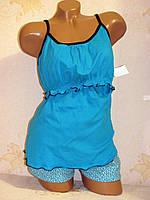 Домашний женский комплект, пижама для кормящих мам, Синий размер 40-42  хлопок