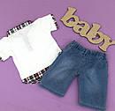Футболка и джинсовые шорты  1,2,3,4 года, фото 2