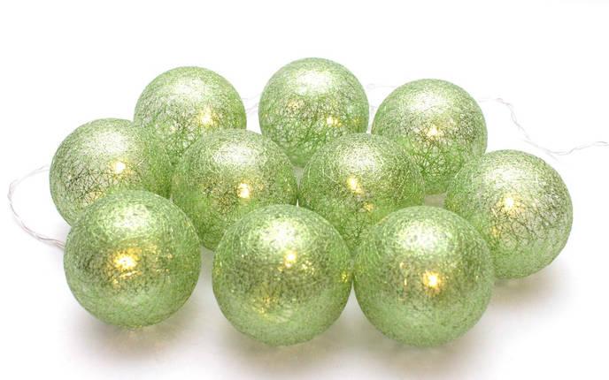 Декоративная LED гирлянда Cotton Balls Хлопковые Тайские Шарики 10 шт тайская на батарейках лед декор ночник, фото 2