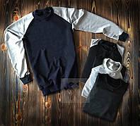 Трикотажний комбінований темно-синій з сірим світшот кофта без принта весна - осінь