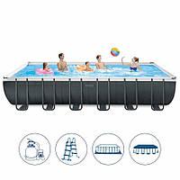 Intex 26364 каркасный бассейн 732 х 366 х 132 см, песочный насос 7900 л/час (полная комплектация)