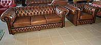 Диван кожаный с креслом типа Честрефилд 1930-е Великобритания