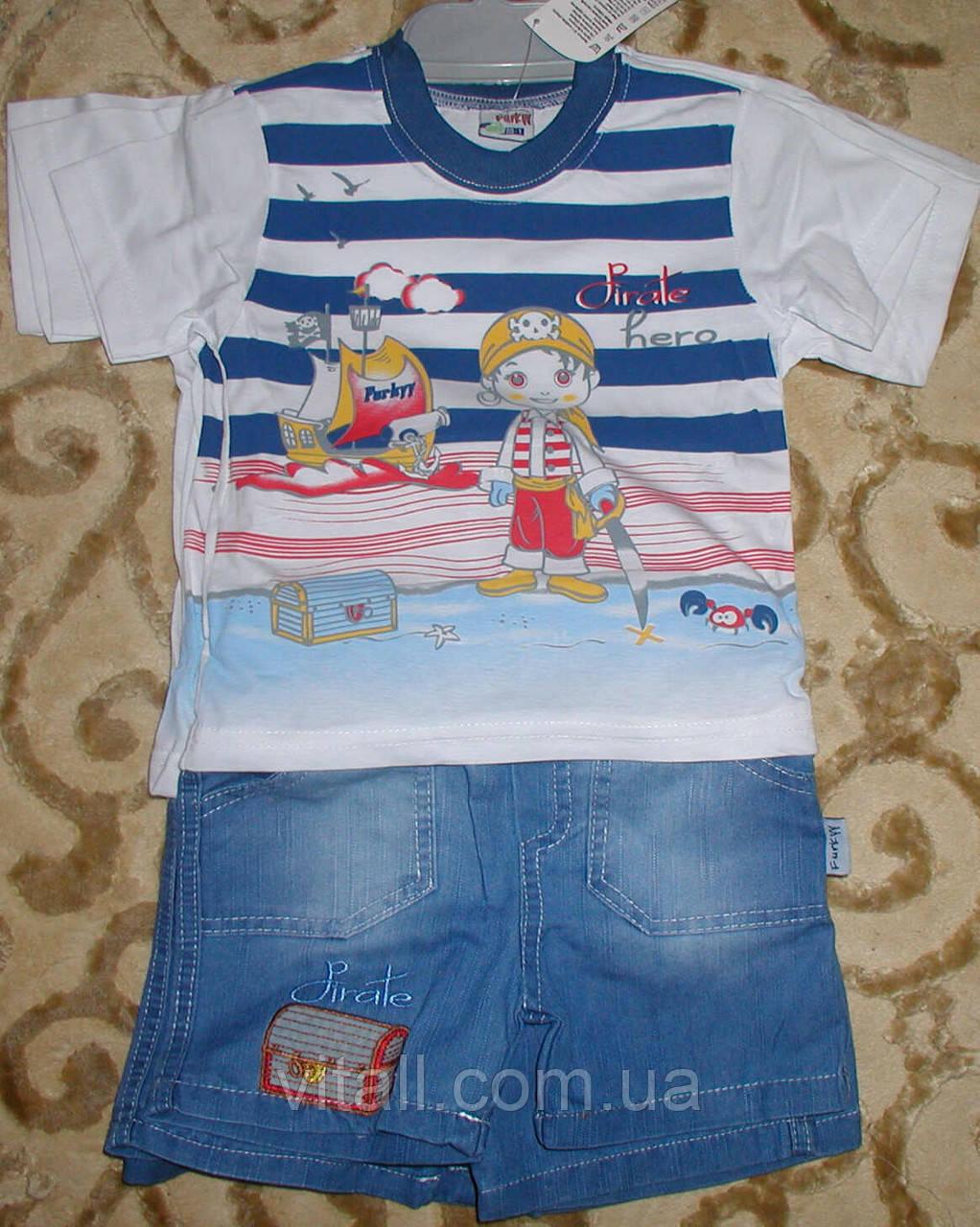 """Костюм футболка+шорты джинс для мальчика """"пират"""" синий рост 86-98"""