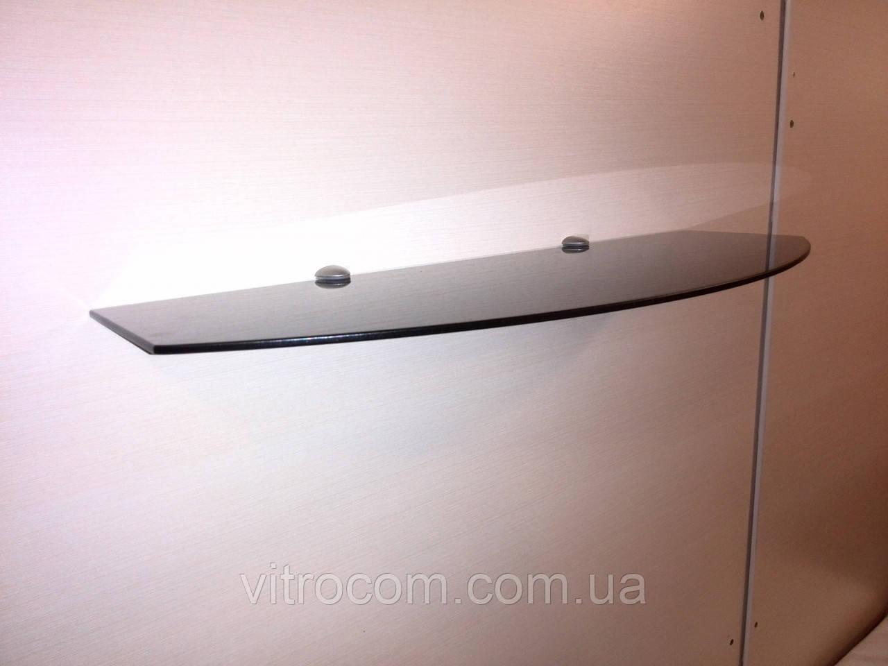 Полка стеклянная фигурная 6 мм крашенная 60 х 30 см чёрная