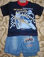 "Костюм футболка+шорты джинс для мальчика ""мотоциклист"" синий рост 86-98"