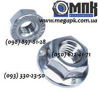 Гайки нержавеющие М10 шестигранные с фланцем и контрящими зубчиками DIN 6923, сталь А2, А4.