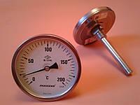 "Термометр биметаллический PAKKENS Ø100мм от 0 до 200 градусов, трубка-капилляр 10 см с резьбой 1/2""     Турция"