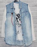 """Кардиган женский джинсовый безрукавка+ кофта, р-ры S-L """"GOLDEN IMAGE"""" купить недорого от прямого поставщика"""