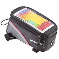 """Велосипедная сумка Roswheel на раму с прозрачным отделением под смартфон 4.8"""" с внутренним объемом 1.2 л."""