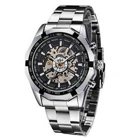 Мужские механические часы Winner Timi Skeleton Silver (WS-101) ff654620e3ca1