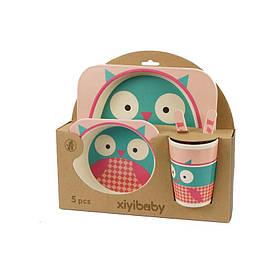 Набор детской посуды xiyibaby из бамбукового волокна 5 шт (5094-0002)