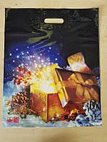 """Пакет """"Новогодняя коробочка"""" полиэтиленовый с вырубной ручкой, 39х47,5 см"""