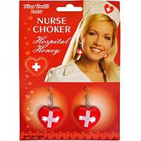 Серьги медсестры красные