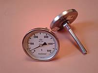 "Термометр биметаллический PAKKENS Ø100мм от 0 до 500 градусов, трубка-капилляр 10 см с резьбой 1/2""     Турция"