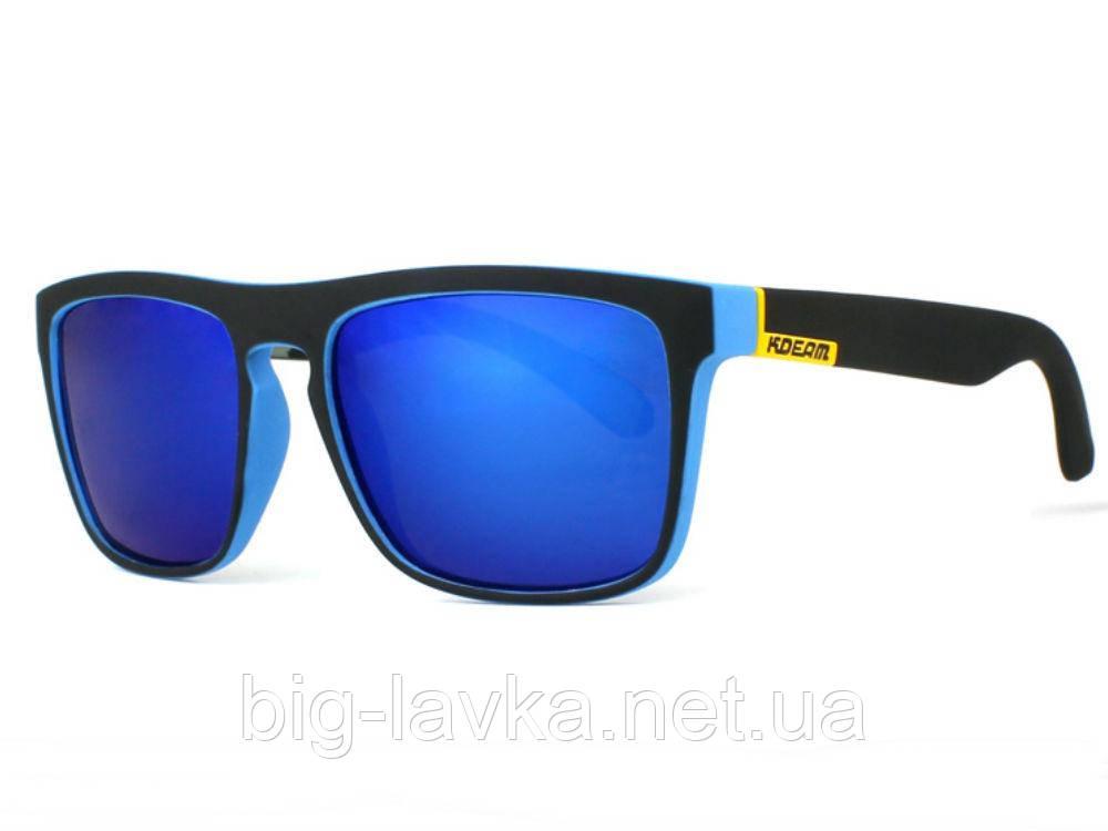 Защитные спортивные очки от солнца Kdeam  Черные с голубым