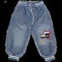 Детские джинсы с трикотажными манжетами и поясом, с вышивкой, ТМ Ромашка+, р. 86, 92, 98, 104, Турция 104 Синий