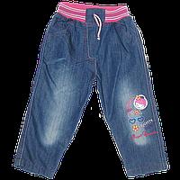 Детские джинсы р 80 86 92 98 104 110 с трикотажными поясом и шнурком-регулятором, с вышивкой, Турция