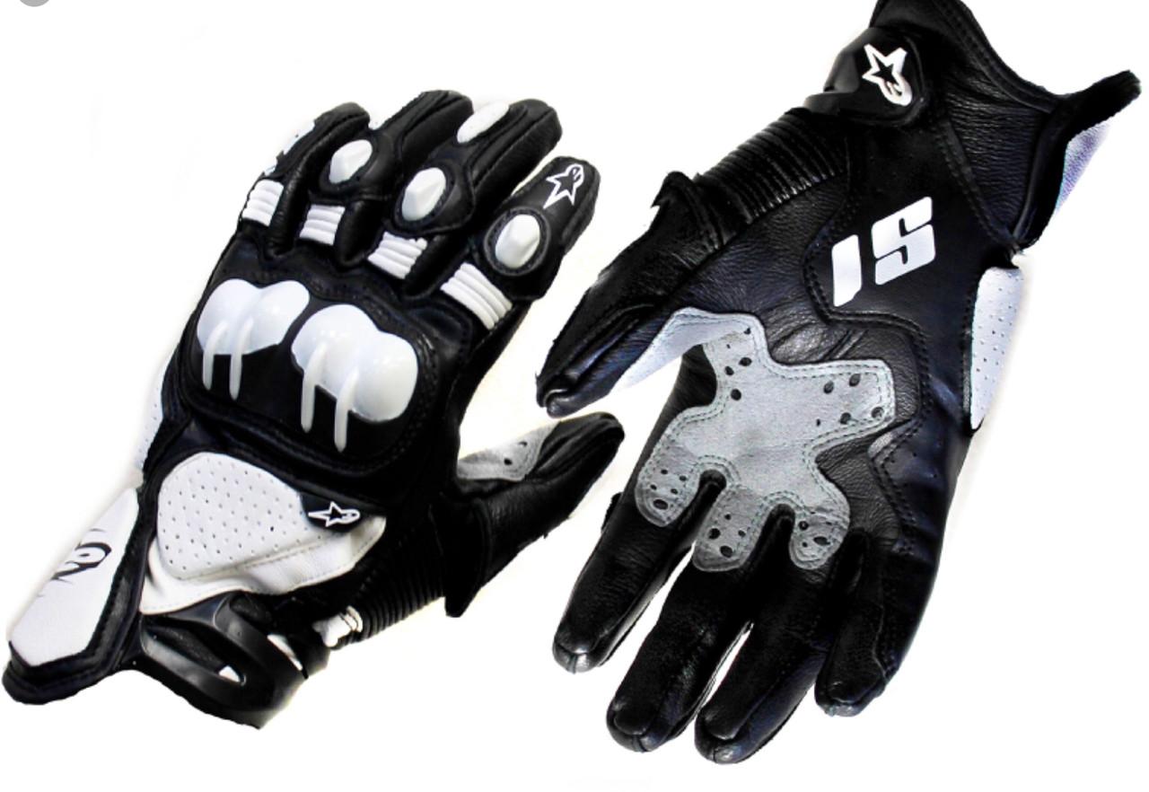 Защитные длинные мото перчатки Кожа бело-черные Alpinestars S1 на спорт мото