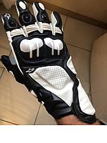 Защитные длинные мото перчатки Кожа бело-черные Alpinestars S1 на спорт мото, фото 3