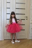 """Нарядное детское платье """" Амброзия """" с малиновым фатином и нежным гипюром"""