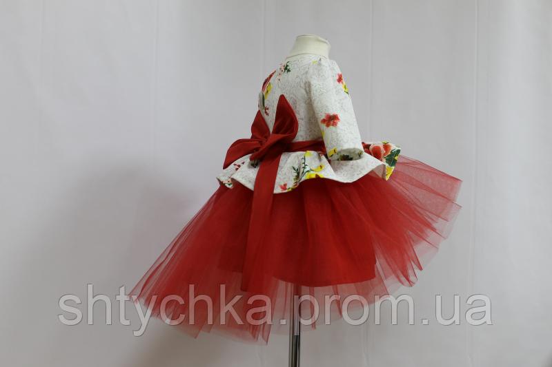 """Нарядное, пышное платье на девочку """" Зачарована квітка"""" с рукавами и красным фатином и бантом сзади"""
